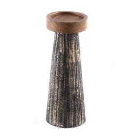 Bougeoir en bois de manguier et métal noir et or M Hilo