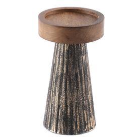Bougeoir en bois de manguier et métal noir et or S Hilo