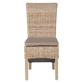 Chaise en demi Kubu pieds teck teinté lin