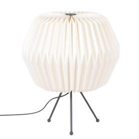 Lampe en papier origami blanche et métal Polka