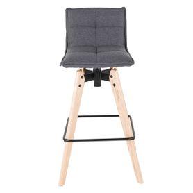 Chaise de bar design grise en tissu piétement chêne Mae