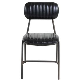 Chaise imitation cuir noir et métal brut Marius