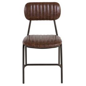 Chaise vintage imitation cuir marron et métal brut Marius