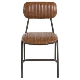 Chaise vintage imitation cuir camel et métal brut Marius