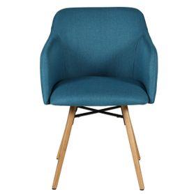 Chaise accoudoirs bleu en tissu pieds chêne naturel May