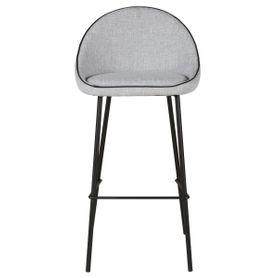 Chaise de bar en tissu gris clair Maya