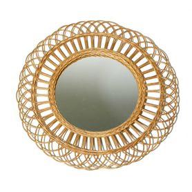 Miroir rotin naturel rond Flower