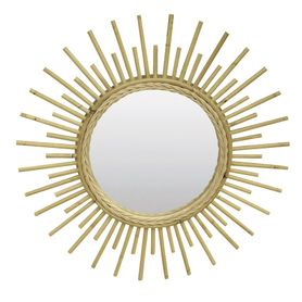 Miroir en rotin naturel Sun