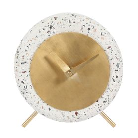 Horloge en béton effet terrazzo blanc Muzz