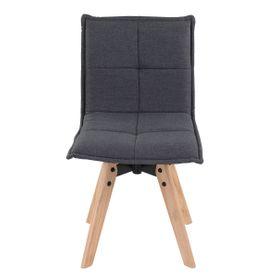 Chaise tissu gris foncé piétement chêne Nina (lot de 2)