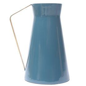 Vase en fer émaillé bleu foncé et doré OLIA