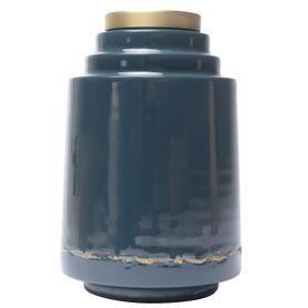 Vase en fer émaillé bleu de cobalt OLIA