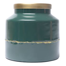 Vase en fer émaillé bleu pétrole OLIA