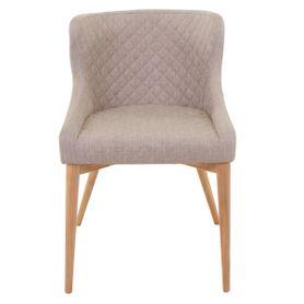 Chaise tissu beige piétement frêne Paris (lot de 2)