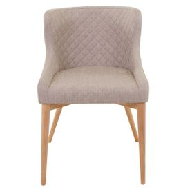 Chaise tissu beige piétement frêne Paris x2