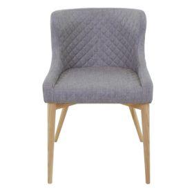 Chaise tissu gris clair piétement frêne Paris