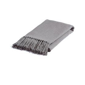 Plaid en coton gris 150 x 130 cm Isak