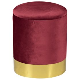 Pouf en velours bordeaux Queen