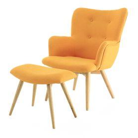 Fauteuil vintage tissu et repose-pieds jaune Stockholm