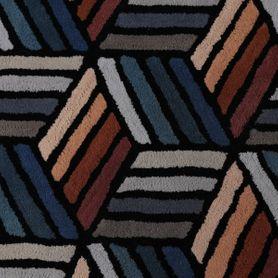 Tapis bleu motifs hexagonales en laine 160 cm Diago