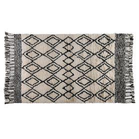 Tapis à motifs noir et blanc à franges en laine 200 cm Lozi