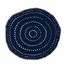 Tapis coton bleu Ø120 cm Umaa