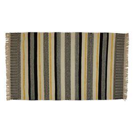 Tapis laine et viscose noir/jaune 170 x 120 cm Yamuna