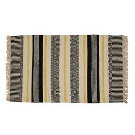 Tapis laine et viscose noir/jaune 140 x 70 cm Yamuna