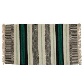 Tapis laine et viscose noir/turquoise 140 x 70 cm Yamuna