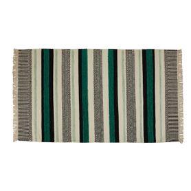 Tapis laine et viscose noir/turquoise 170 x 120 cm Yamuna