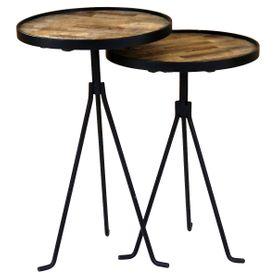 2x Tables d'appoint gigognes rondes en teck Ø38 cm Woody