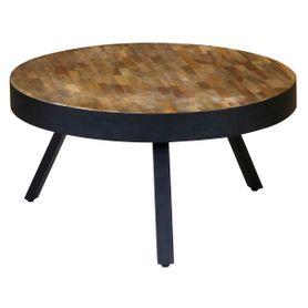 Table basse ronde teck et métal Ø76 cm Woody