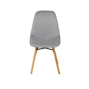 Chaise de repas en tissu gris clair et pieds chêne May
