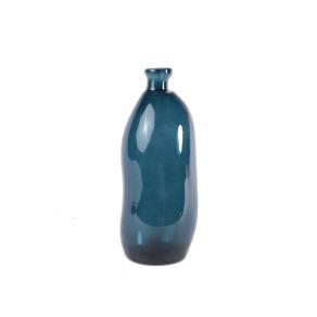 Vase d'Espagne en verre 100% recyclé teinté bleu foncé h 35 cm Bubble