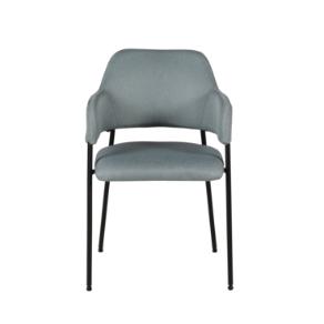 Chaise accoudoirs tissu bleu aqua piètement métal Arty